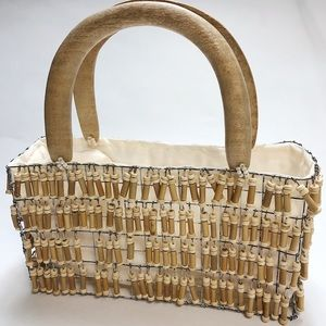 Bags - Gaia Bamboo Hand Beaded Caged Mini Purse